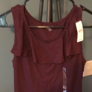 Loft Outlet Plum Tank with Ruffle Collar